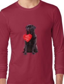 Cute Black Pug Wishing Happy Valentine's Day Heart  Long Sleeve T-Shirt