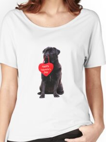 Cute Black Pug Wishing Happy Valentine's Day Heart  Women's Relaxed Fit T-Shirt