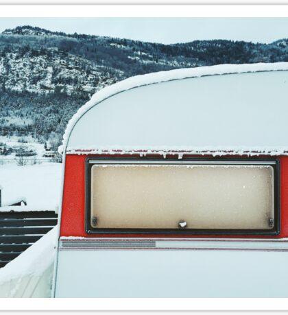 Snow-Covered Caravan in Frozen Winter Landscape in Scandinavia Sticker