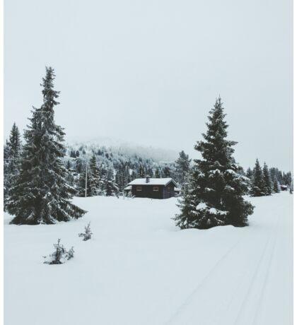 Lonely House in Moody White Scandinavian Winter Landscape Sticker