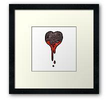 cartoon black heart symbol Framed Print