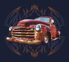 Pinstripe Rust Truck One Piece - Long Sleeve