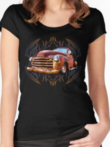 Pinstripe Rust Truck Women's Fitted Scoop T-Shirt