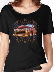 Pinstripe Rust Truck Women's Relaxed Fit T-Shirt