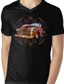 Pinstripe Rust Truck Mens V-Neck T-Shirt