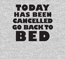 Today Has Been Cancelled Go Back To Bed, Black Ink | Funny Lazy Day Quote Shirt Hoodie