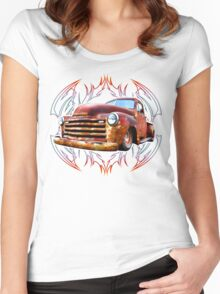 Pinstripe Rust Truck-a Women's Fitted Scoop T-Shirt