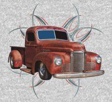 Pinstripe Rust Truck 2 Kids Clothes