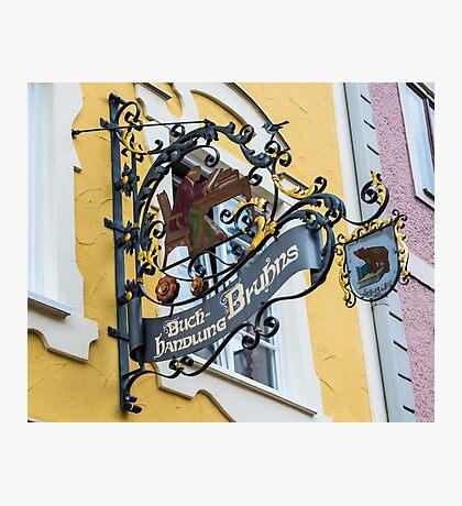 Historic Fussen Bear Bookstore Sign - Germany - Bavaria Photographic Print