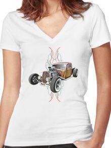Pinstripe RAT - Full Throttle-a Women's Fitted V-Neck T-Shirt