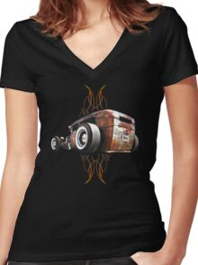 Pinstripe RAT - Rear View Women's Fitted V-Neck T-Shirt