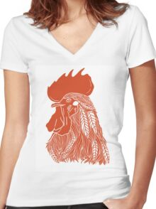 Rooster in red color Women's Fitted V-Neck T-Shirt