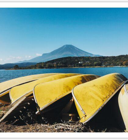 Mount Fuji - Yellow Canoes on Lake Yamanaka Shore (Japan) Sticker