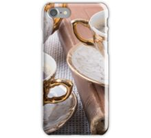 Antique porcelain coffee cups with hot espresso iPhone Case/Skin