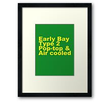 Early Bay Pop Type 2 Pop Top Yellow Framed Print