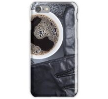 Top view of a white cup of coffee and gray woolen scarf iPhone Case/Skin