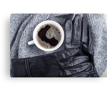 Top view of a white cup of coffee and gray woolen scarf Canvas Print