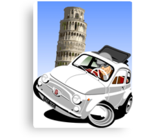 Classic Fiat 500 in Pisa caricature Canvas Print