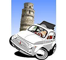 Classic Fiat 500 in Pisa caricature Photographic Print