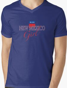 New Mexico Girl - Red, White & Blue Graphic Mens V-Neck T-Shirt
