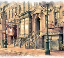 Streets of Old New York City Watercolor by Edward Fielding