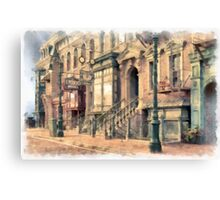 Streets of Old New York City Watercolor Canvas Print