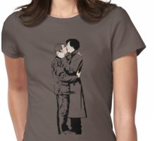 KISSING SHERLOCK AND JOHN in grey Womens Fitted T-Shirt