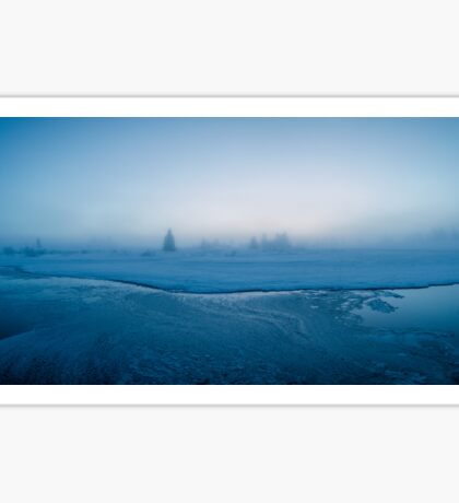 Winter - Moody Panorama Shot of Foggy Morning by Frozen River Sticker