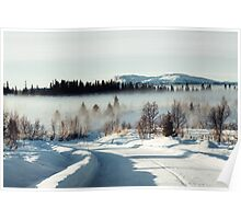 White Winter Landscape With Mysterious Fog on Sunny Day (Norway) Poster