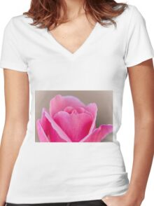roses in the garden Women's Fitted V-Neck T-Shirt