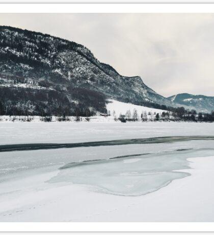 Frozen Lake in Snow-Covered Norwegian Winter Landscape Sticker
