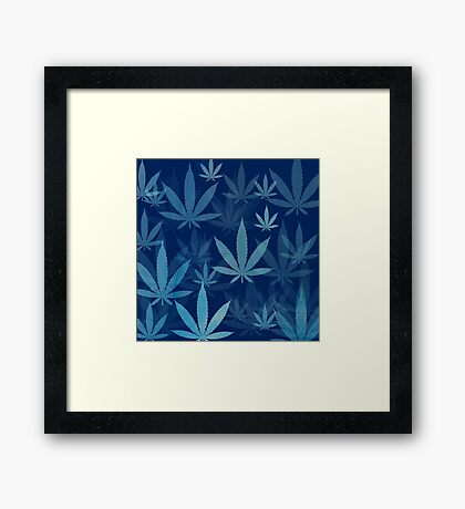 Marijuana Cannabis Weed Pot Dark Blue Framed Print