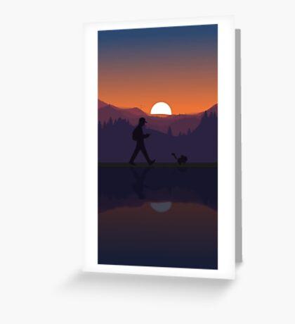 Pokemon Walking Sunset Greeting Card