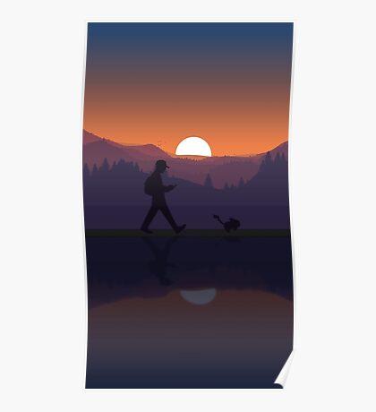 Pokemon Walking Sunset Poster