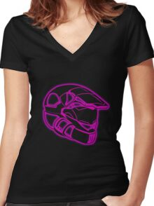 Space Trooper Helmet - Purple Women's Fitted V-Neck T-Shirt
