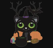 Black Kitten Witch 3 Kids Clothes