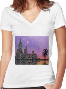 Colorful city 2 Women's Fitted V-Neck T-Shirt