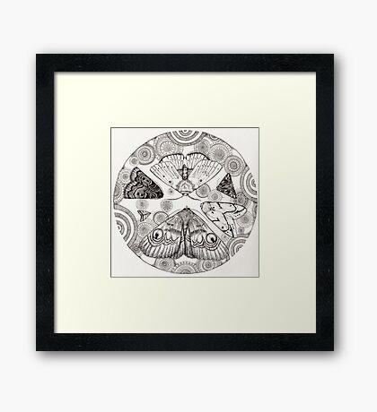 moth mandala Framed Print