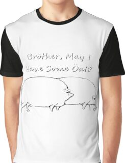 Brother, May I have Some Oats? Black & White Outline Graphic T-Shirt