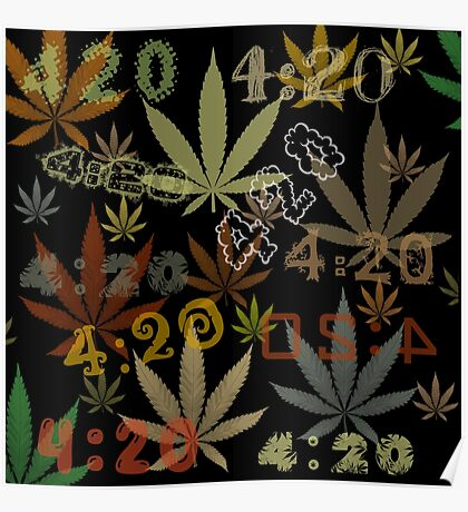 Marijuana Cannabis Weed 420 4:20 All Over The World Poster