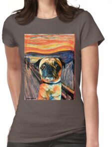 The Pug Scream Womens Fitted T-Shirt