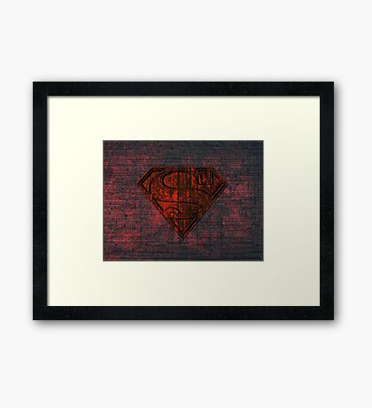Rustic Red Superman Framed Print