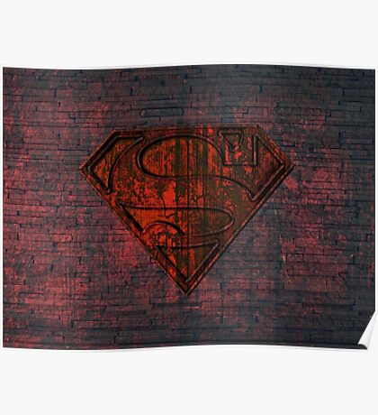 Rustic Red Superman Poster