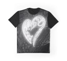 Zen Doodle Heart Black White Glow Graphic T-Shirt