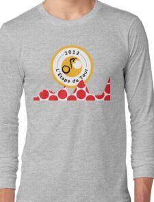 Red Polka Dot 2013 L'Etape du Tour Mountain Profile v2 Long Sleeve T-Shirt