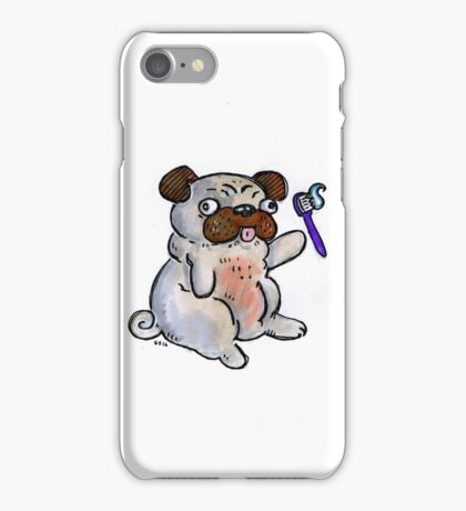 Pug with a toothbrush iPhone Case/Skin