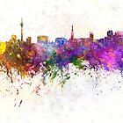 Dusseldorf skyline in watercolor background by paulrommer