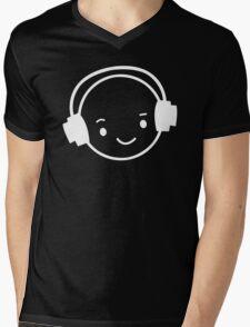 Happy Face Dj Mens V-Neck T-Shirt