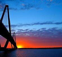 Ravenel Bridge Sunset Over Water by Chris King