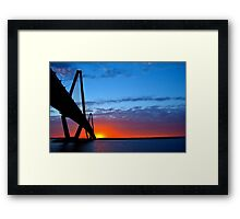 Ravenel Bridge Sunset Over Water Framed Print